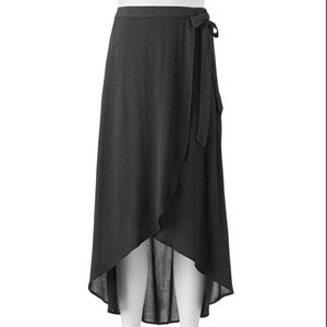 Tie side maxi skirt black